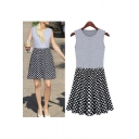 New Oversized Polka Dot Print Round Neck Sleeveless Tank Mini Dress