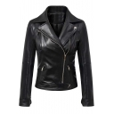 Fashion Oblique Zipper Placket Plain Notched Lapel PU Jacket
