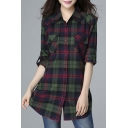 Women's Mid-Long Style Roll-Up Sleeve Plaid Shirt