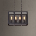 16'' Wide Rectangle Shape 4 Light Chandelier Pendant with Metal Mesh