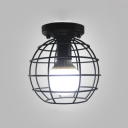 Industrial Globe Cage Style One Light Semi-Flushmount Light