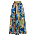 Women's African Print High Waist Pleated Maxi Skirt
