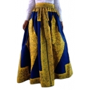 Women's African Print High Waist A-Line Pleated Maxi Skirt