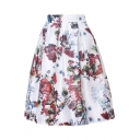 Women's High Waist Print Floral Pleated Skirt Midi Skater Skirt One Size
