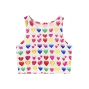 Lovely Heart Printed Color Block Sleeveless Cropped Tank