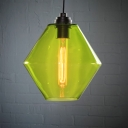 Green/Orange/Blue Industrial Colored LOFT Glass Pendant Light