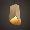Vintage Style Cement Style Rectangle One Light Pendant in Gray