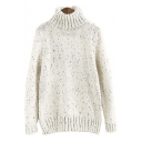 Turtle Neck Pullover Long Sleeve Women's Basic Knit Sweater