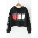 2016 New Hooded Latter Patchwork Long Sleeve Cropped Hoodie