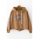 New Stylish Asymmetric Hem Split Back Graphic Printed Hoodie