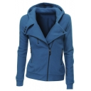 Women Slim Fit Fleece Zip-up Hoodie Jacket with Zipper Point
