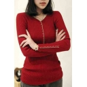 Women's V-Neck Plain Long Sleeve Sweater