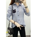 Women's Cat Embroidery Long Sleeve Striped Print Basic Casual Shirt
