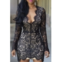 Womens Sexy Lace Deep V Neck Open Back Party Club Mini Dress