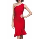 Women's Rayon One Shoulder Falbala Club Bodycon Bandage Dress