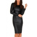 Fashion Women's Long Sleeve Round Neck Plain PU Midi Pencil Dress