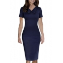 Women's Elegant Lapel Short Sleeve Plain Midi Pencil Dress