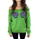 Women's Long Sleeve Chic Mermaid Shells Slouchy Pullover Sweatshirt Tops