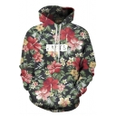 Unisex Simulation Floral Printing Pocket Hooded Sweatshirt