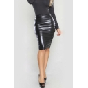 Women Slim Fit Faux Leather Pencil Midi Skirt