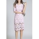 Fashion Slim Lace Floral Pattern Half Sleeve Sheath Midi Dress