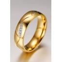 Couple Crystal Insert Titanium Steel Rings
