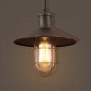 Metal Shade One Light Ceiling Fixture Industrial Hallway Pendant in Rust
