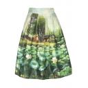 Women's High Waist Print Pleated Skirt Midi Skater Skirt One Size