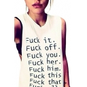 Women's White Funny T Shirts with Saying Cut Out Juniors Sleeveless Shirts