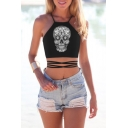 Sexy Halter Skull Printed Tied Back Crop tank Top