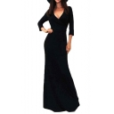 3/4 Sleeve V-Neck Tie Waist Women's Sexy Maxi Evening Dress