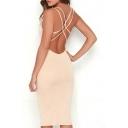 Fashion Crisscross Back Women's Scoop Neck Bodycon Midi Dress
