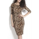 Sexy Ladies Leopard Low V Back Long Sleeve Formal Cocktail Party Midi Dress