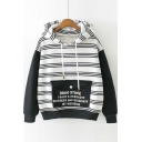 Fall Winter New Hooded Striped Contrast Long Sleeve Hoodie with Color Block Pocket