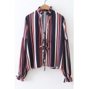 Women's Petal Collar Striped Print Lace-Up Front Long Sleeve Blouse
