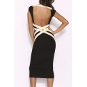 Sexy Open Bandage Back Round Neck Sleeveless  Plain Midi Bodycon Dress