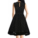 Retro Style Polka Dot Chiffon Panel Sleeveless Mesh Midi Fit & Flare Dress