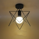 Five-pointed Star Wire Cage Black Finished Close To Ceiling Light
