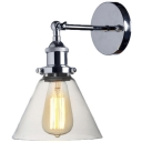 Rustic Industrial Style Chrome Wall Sconce with Glass Shade