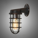 Rustic One Light Metal Hallway Sconce Antique Bronze 3.74