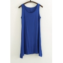 Women's Basic Loose-fit T-shirt Plain Tank Dress