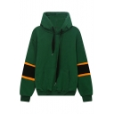 Peppy Style Striped Color Block Long Sleeve Hoodie Sweatshirt with One Kangaroo Pocket