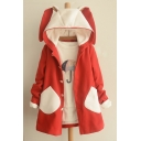 Cute Contrast Rabbit Ear Hooded Single Breasted Long Sleeve Coat with Two Contrast Pockets