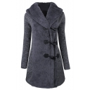 Fashion Slim Hooded Horn Single Breasted Long Sleeve Coat