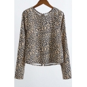 Leopard Print Zip Back Long Sleeve Women's Pullover Blouse