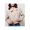 Fashion Lapel Collar Zip Details Women's Motor Coat