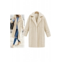 New Arrival Notched Lapel Single Button Plain Woolen Tunic Coat
