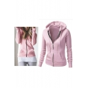 Chic Hooded Plain Zipper Placket Long Sleeve Jacket