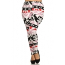 Womens Junior Plus Size Stretch Tribal Floral Striped Print Long Leggings