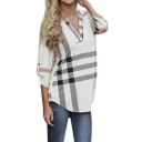 Women's Blouse Casual Plaid V Neck 3/4 Sleeve T-shirts Pullover Tops